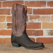 "Men's 13"" Sanded Brown Calf Leather Boot W/Dark Chocolate Sanded Shark Vamp-Atomic 79"
