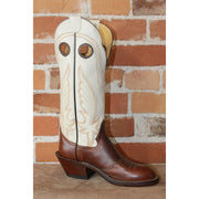 "Men's 14"" Leather Boot In Chocolate W/Bone Colored Top-Atomic 79"