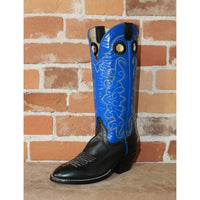 "Men's 14"" Leather Boot W/Black Vamp and Royal Blue Top-Atomic 79"