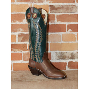 "Men's 16"" Brown Retan Leather Boot W/Forest Green Top-Atomic 79"