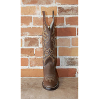 "Men's 16"" Leather Boot in Chocolate Retan Top W/Orange and Yellow Stitching-Atomic 79"