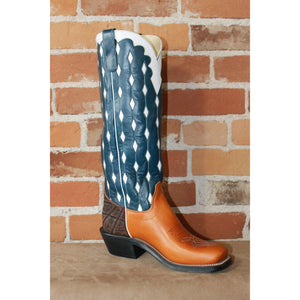 "Men's 16"" Leather Boot In Navy Blue W/White Diamond Top-Atomic 79"