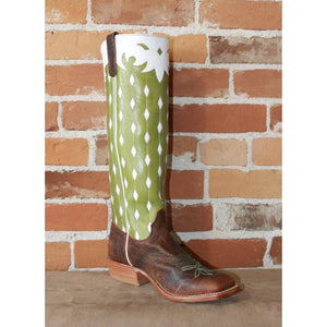 "Men's 16"" Leather Boot W/Brown Buffalo Vamp and Green Top W/White Diamond Overlay-Atomic 79"