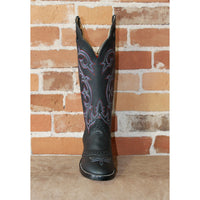"Men's 16"" Leather Boots in Black Retan W/Red White and Blue Stitching-Atomic 79"