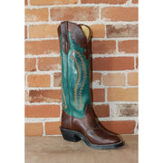 "Men's 17"" Leather Boot In Green W/Cordova Horse Vamp and Scalloped Top-Atomic 79"