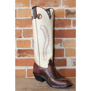 "Men's 17"" Tall Top Leather Boot in Chocolate W/Overlay and Bone Top-Atomic 79"