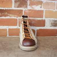 "Men's 5"" Lace To Toe Roofer Shoe In Tan Roughout And Smooth Brown Handrubbed Leather-Atomic 79"