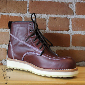 "Men's 6"" Moc Toe Lace-Up Work Boot with White Wedge Sole-Atomic 79"
