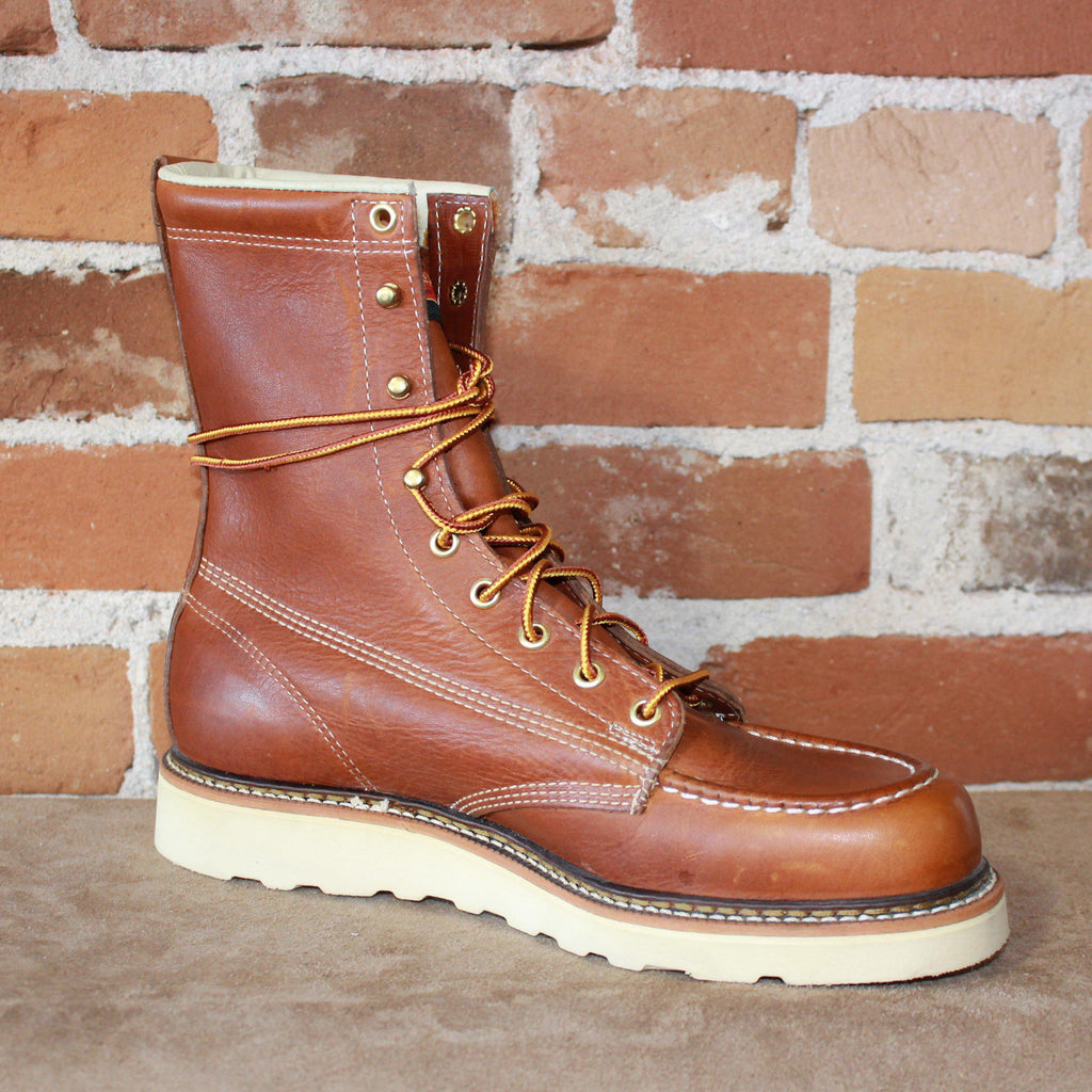 "Men's 8"" Lace Up Moc Toe Boot In Tobacco Oil Tanned Leather-Atomic 79"