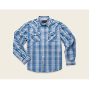 Men's H Bar B Longsleeve Panhandle Plaid Shirt in Deacon Blue-Atomic 79