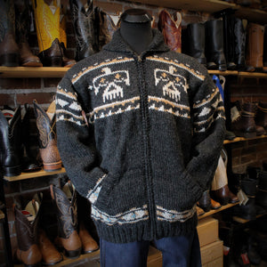 Men's Hand Knit Eagle Sweater in Black Natural-Atomic 79
