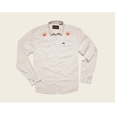 Men's Long Sleeve Crosscut Deluxe Shirt W/Rising Sun in Riverbed Oxford-Atomic 79