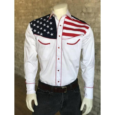 Men's US Flag Western Long Sleeve Shirt-Atomic 79