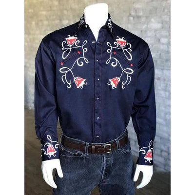 Men's Vintage Art Deco Tulip Embroidered Western Shirt-Atomic 79