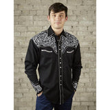 Men's Vintage Black Western Shirt W/Silver Embroidery-Atomic 79