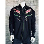 Men's Vintage Longhorn and Floral Embroidered Western Shirt-Atomic 79