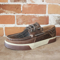Men's Western Embossed Boat Shoe in Brown Gator-Atomic 79