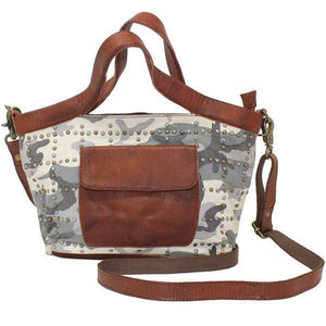 Oba Cross Body Handbag in Leather and Canvas-Atomic 79
