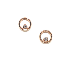 Open Circle Stud W/CZ Bezel in Rose Gold Vermeil-Atomic 79
