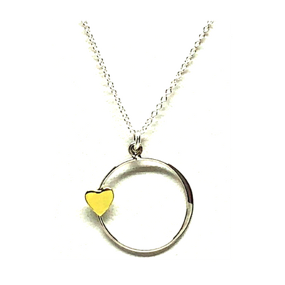 Open Circle W/Heart On Sterling Silver Chain-Atomic 79