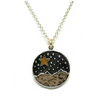 Oxidized Sterling Silver Gold Moon and Star Necklace-Atomic 79