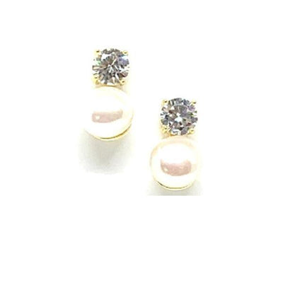 Pearl and Diamond Gold Stud Earrings-Atomic 79