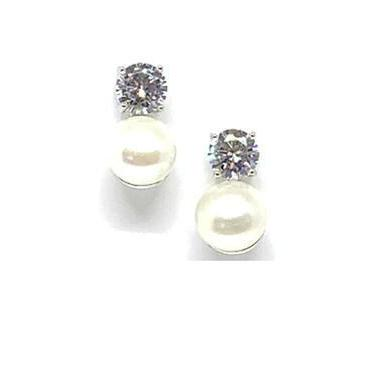 Pearl and Diamond Silver Stud Earrings-Atomic 79