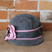 Petal Pusher Hat In Charcoal And Pink-Atomic 79