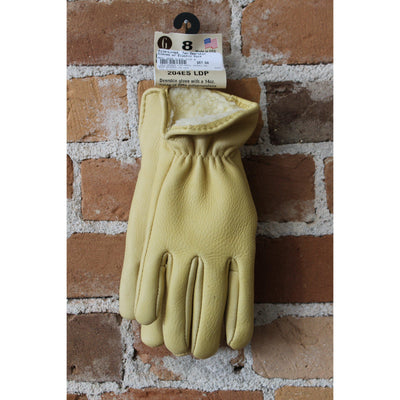 Pile-line Tan Deerskin Gloves W/ Elastic Back-Atomic 79