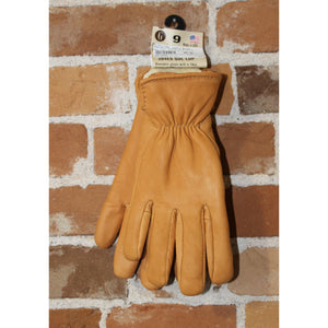 Pile-lined Deerskin Gloves In Saddle Brown W/Elastic Back-Atomic 79