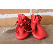 Red Baby Moccasins W/Dalmation Lining-Atomic 79