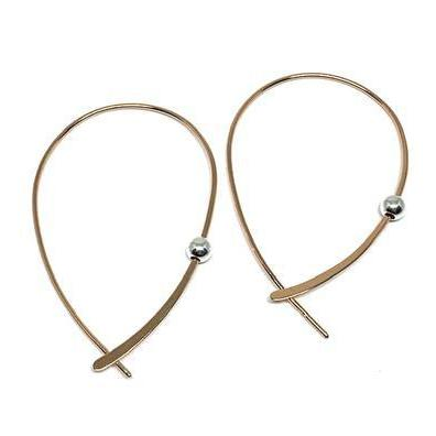 Rose Gold Plain Hoop W/Sterling Silver Bead-Atomic 79