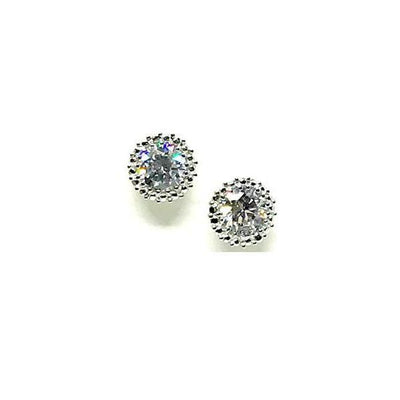 Round 6mm Clear Sterling Silver Stud-Atomic 79