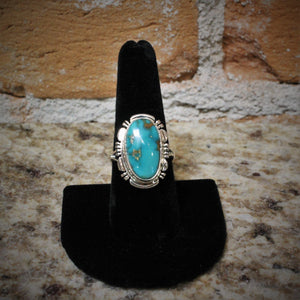 Royston Turquoise Small Oval Ring set in solid sterling silver-Atomic 79