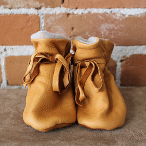 Saddle Brown Baby Moccasins-Atomic 79