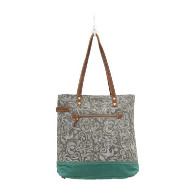 Sage Green Abstract Print Canvas Tote Bag W/Leather Accents-Atomic 79