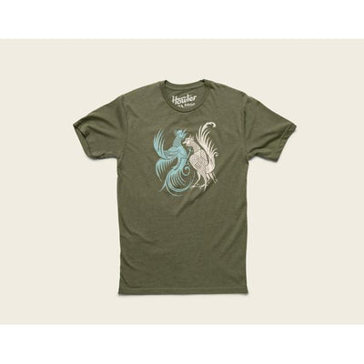 Select T Shirt W/Fighting Cocks in Military Green-Atomic 79