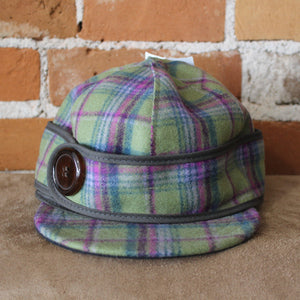 Side Button Hat In Green And Purple Plaid-Atomic 79