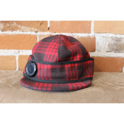 Side Button Hat In Red And Black Tartan Plaid-Atomic 79