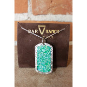 Silver Dog Tag Necklace W/Crushed Turquoise Inlay-Atomic 79