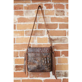 Small Leather Tote W/Side Fringe in Brown-Atomic 79