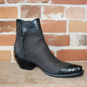 Stallion Ladies Espresso Ankle Boot W/ Horse and Black Croc Trim-Atomic 79