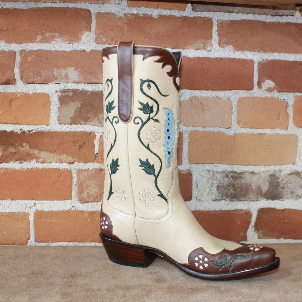 Stallion Ladies Morrocan Butterfly Western Boot In Bone Calf-Atomic 79