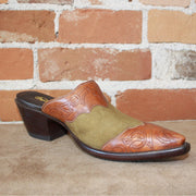Stallion Ladies Mule (slider)Green Lamb Suede W/Hand Tooled Wingtip and Overlay-Atomic 79