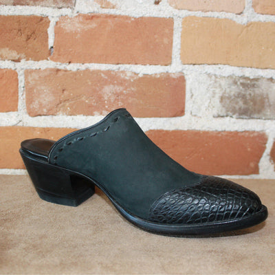 Stallion Ladies Mule (slider)in Black Nubuck Leather W/Black Alligator Trim-Atomic 79