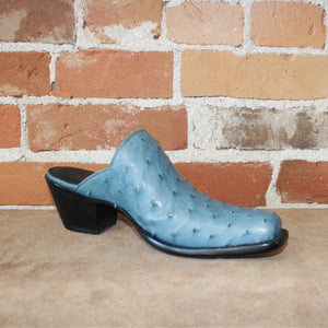 Stallion Ladies Mule(Slider) Blue Ostrich Vamp-Atomic 79