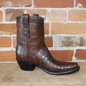 Stallion Ladies Peewee Triad Boot Tobacco Caiman Vamp W/Tobacco Italian Calf Top-Atomic 79