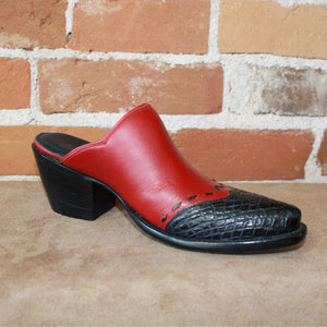 Stallion Ladies Red Calf Mule (slider) W/Black Croc Wing and Buckstitching-Atomic 79