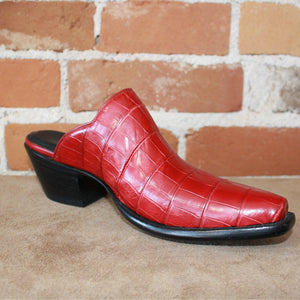 Stallion Ladies Red Crocodile Mule (slider)-Atomic 79