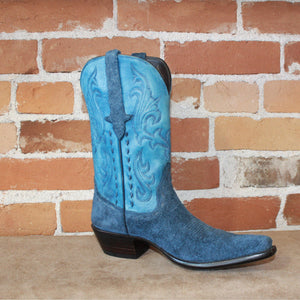 Stallion Ladies Roughout Vamp Western Boot In Navy/Sea-Salt Color-Atomic 79